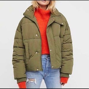 NEW Free People Cold Rush Moss Puffer Jacket sz S